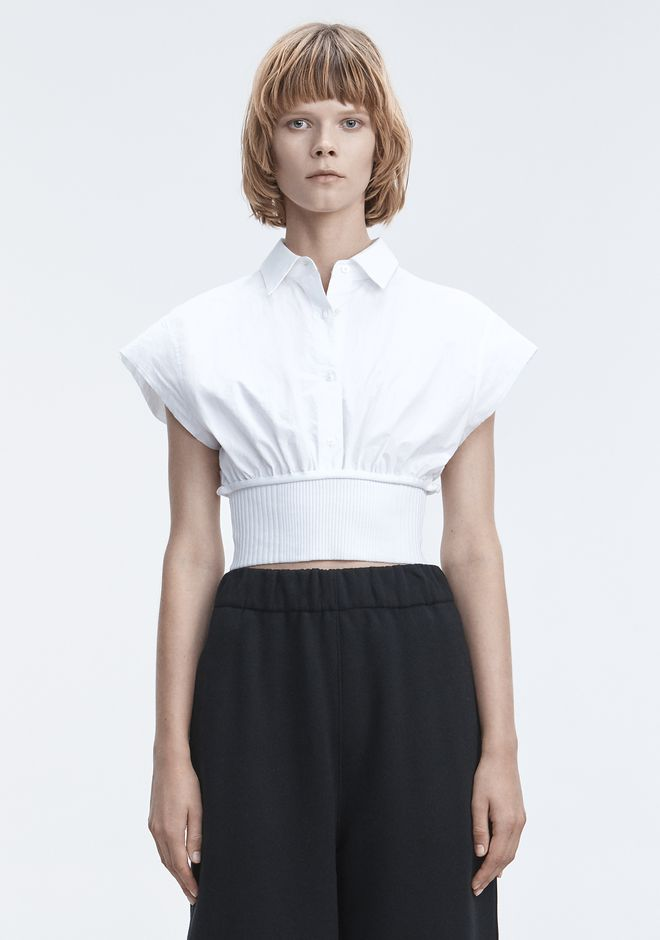 T by ALEXANDER WANG sltbssw WASHED POPLIN TOP