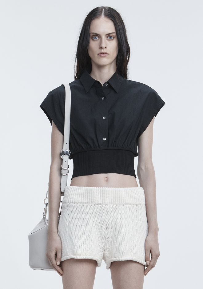 T by ALEXANDER WANG WASHED POPLIN TOP  TOP Adult 12_n_e