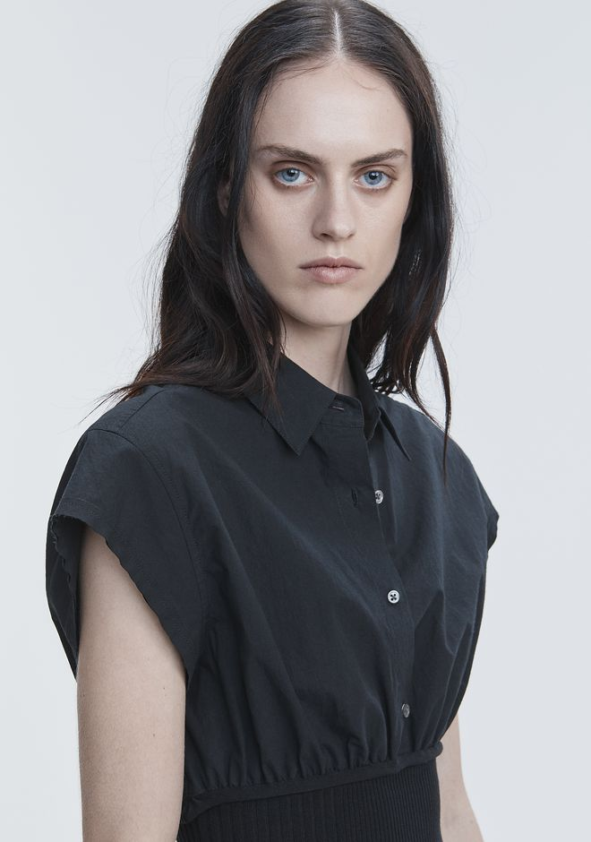 T by ALEXANDER WANG WASHED POPLIN TOP  TOP Adult 12_n_r