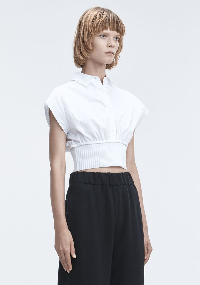 T by ALEXANDER WANG WASHED POPLIN TOP  TOP Adult 12_n_a
