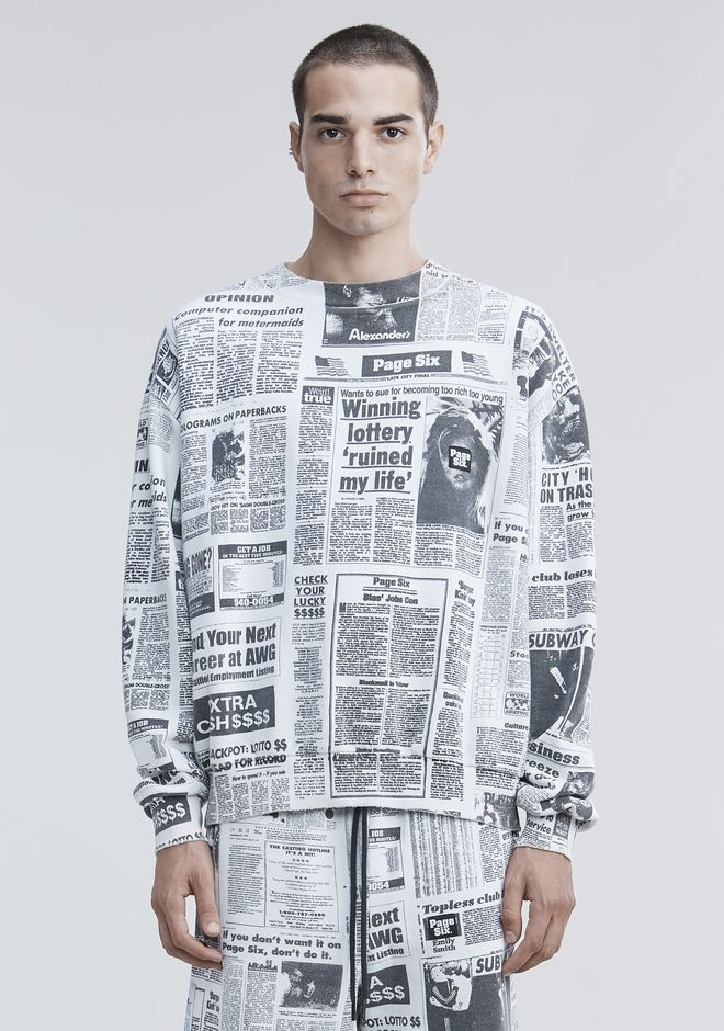 ALEXANDER WANG PAGE SIX NEWSPAPER SWEATSHIRT TOP Adult 12_n_a