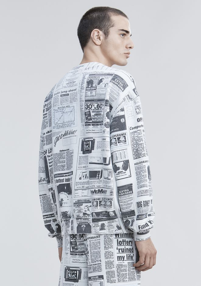 ALEXANDER WANG PAGE SIX NEWSPAPER SWEATSHIRT TOP Adult 12_n_d