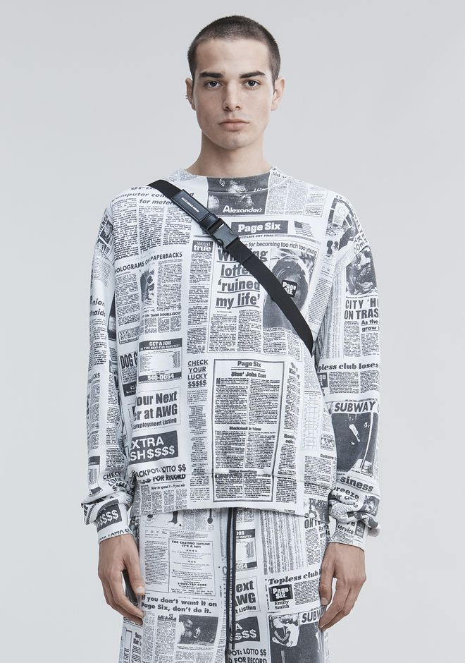 ALEXANDER WANG PAGE SIX NEWSPAPER SWEATSHIRT TOP Adult 12_n_e