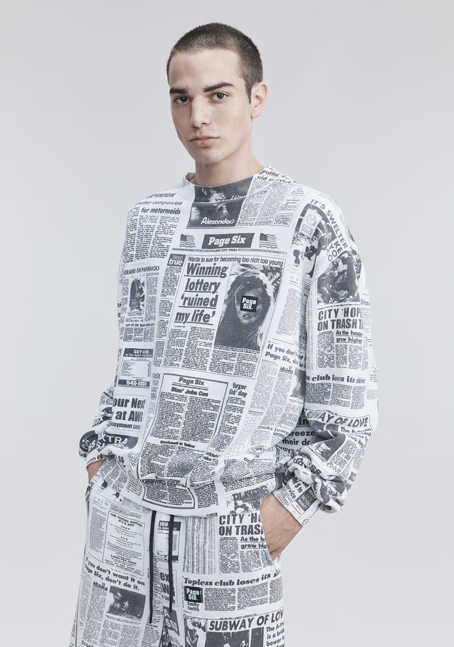 ALEXANDER WANG PAGE SIX NEWSPAPER SWEATSHIRT TOP Adult 12_n_r