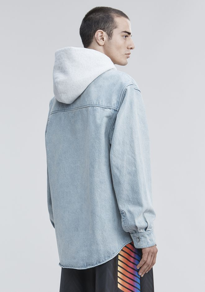 ALEXANDER WANG HOODED DENIM SHIRT TOP Adult 12_n_d