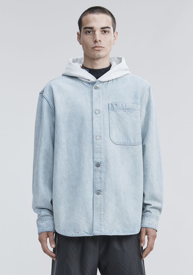 ALEXANDER WANG HOODED DENIM SHIRT TOP Adult 12_n_e