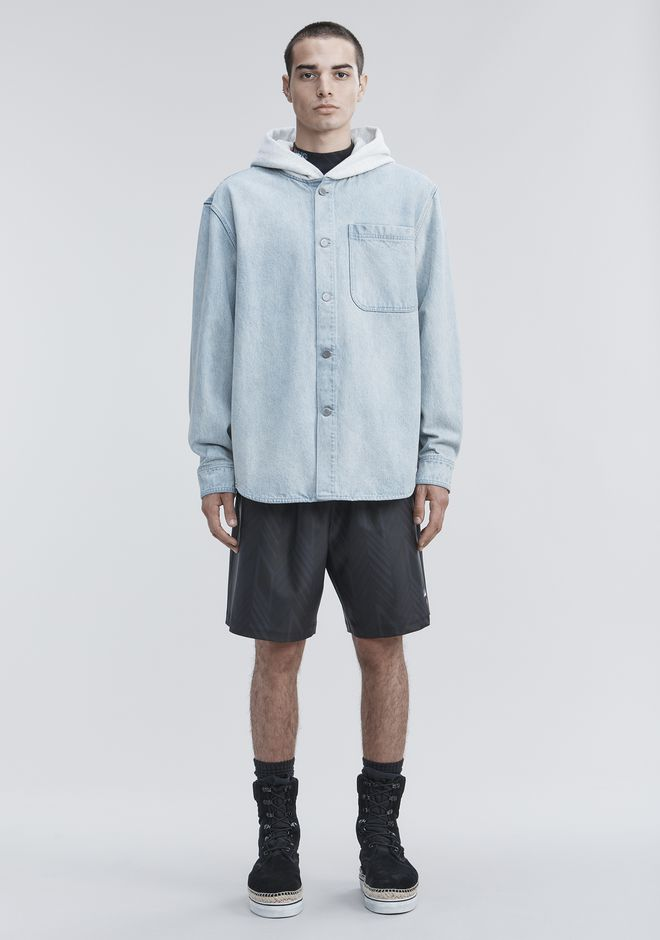 ALEXANDER WANG HOODED DENIM SHIRT TOP Adult 12_n_f
