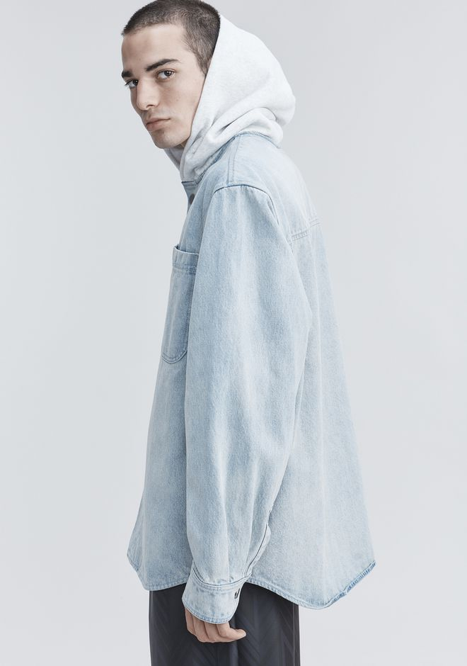 ALEXANDER WANG HOODED DENIM SHIRT TOP Adult 12_n_r