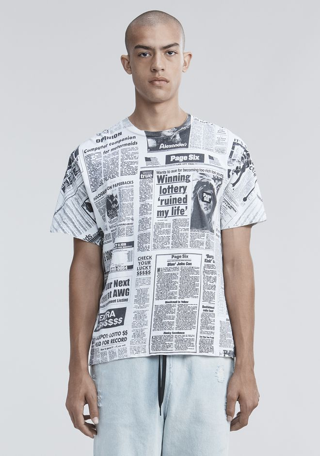 ALEXANDER WANG PAGE SIX NEWSPAPER T-SHIRT  TOP Adult 12_n_d