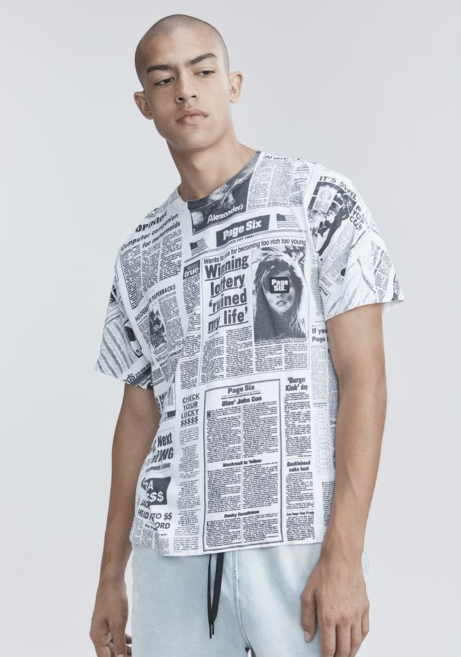 ALEXANDER WANG PAGE SIX NEWSPAPER T-SHIRT  TOP Adult 12_n_r