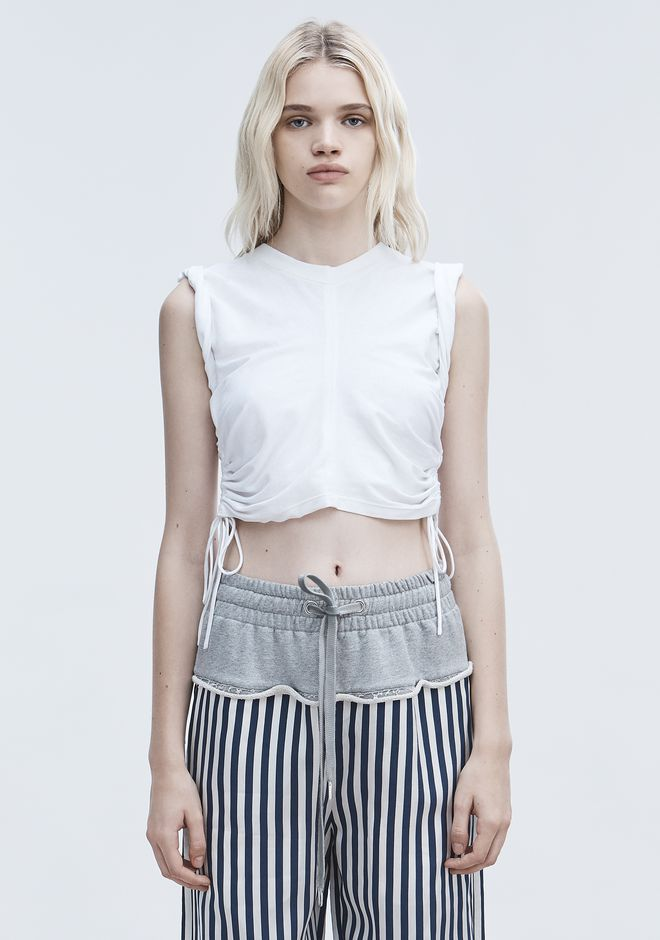 T by ALEXANDER WANG sltbssw RUCHED CROP TOP