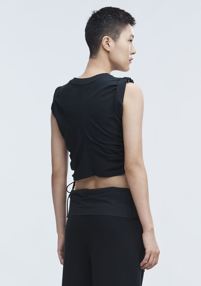 T by ALEXANDER WANG RUCHED CROP TOP  TOP Adult 12_n_d