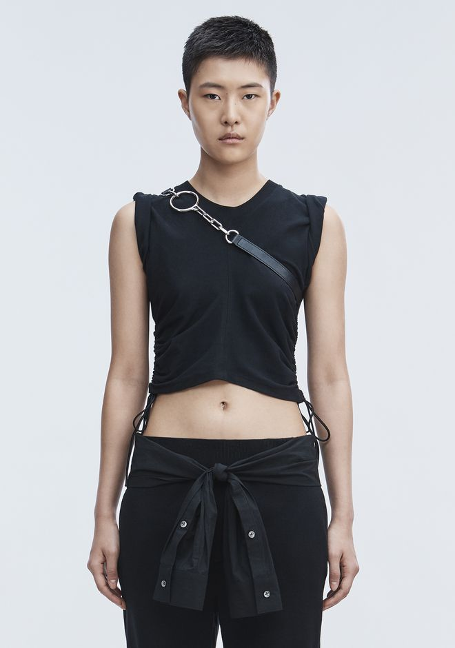 T by ALEXANDER WANG RUCHED CROP TOP  TOP Adult 12_n_e