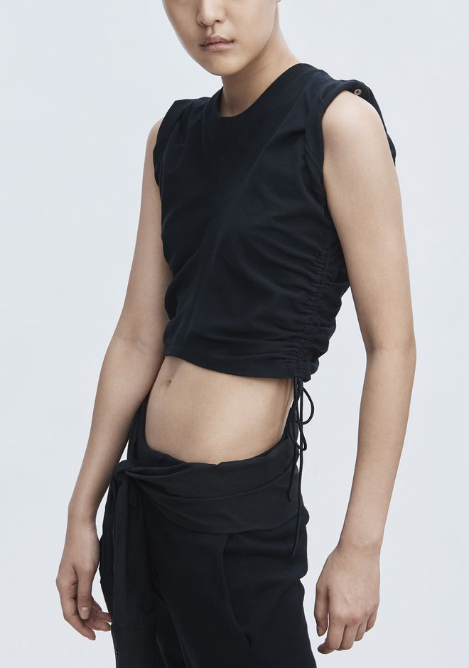 T by ALEXANDER WANG RUCHED CROP TOP  TOP Adult 12_n_r