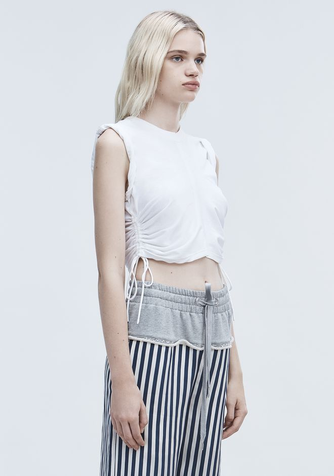T by ALEXANDER WANG RUCHED CROP TOP  TOP Adult 12_n_a