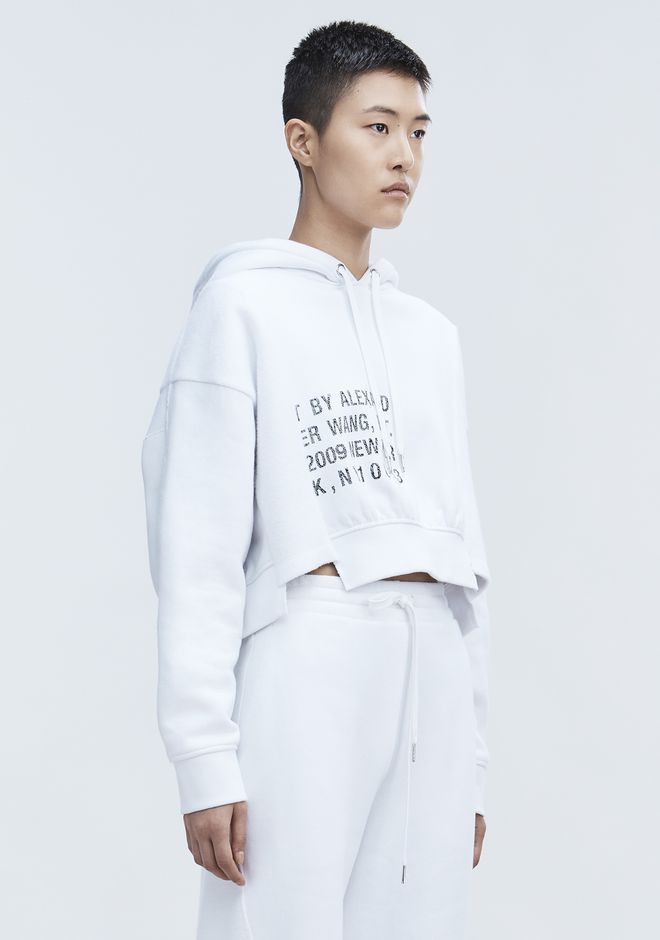 T by ALEXANDER WANG CROPPED FLEECE HOODIE TOP Adult 12_n_a