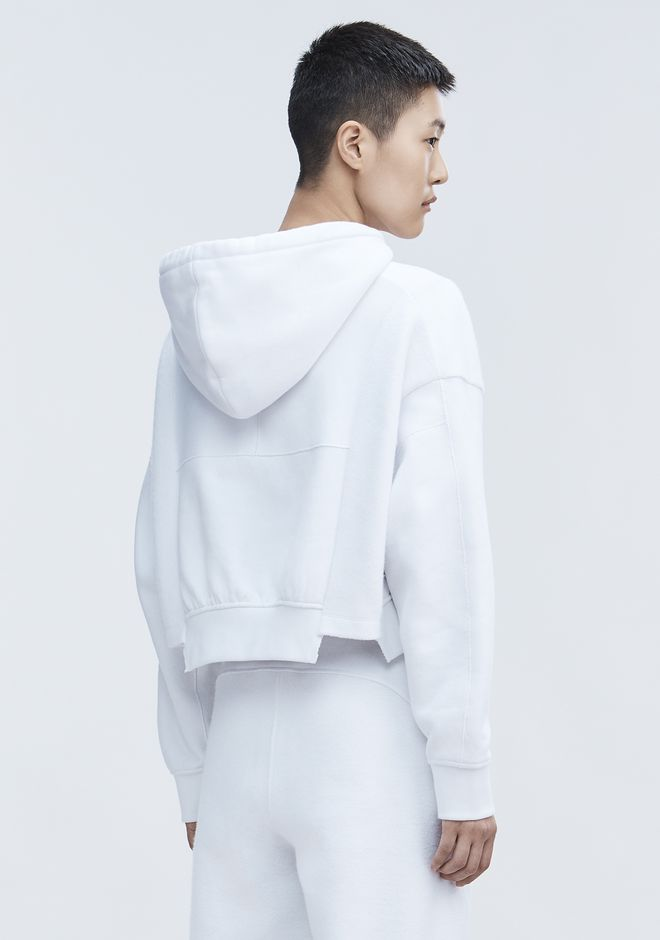 T by ALEXANDER WANG CROPPED FLEECE HOODIE TOP Adult 12_n_d