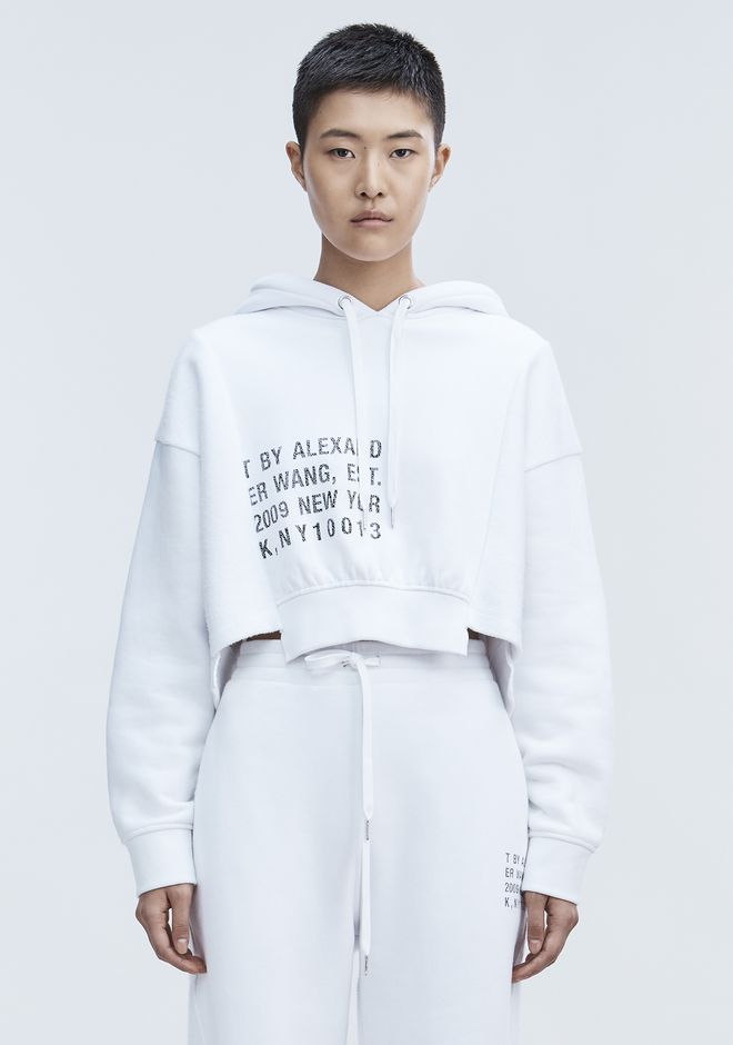T by ALEXANDER WANG CROPPED FLEECE HOODIE TOP Adult 12_n_e