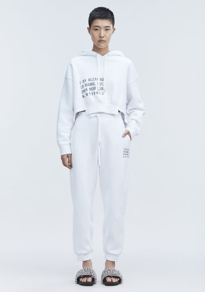 T by ALEXANDER WANG CROPPED FLEECE HOODIE 上衣 Adult 12_n_f