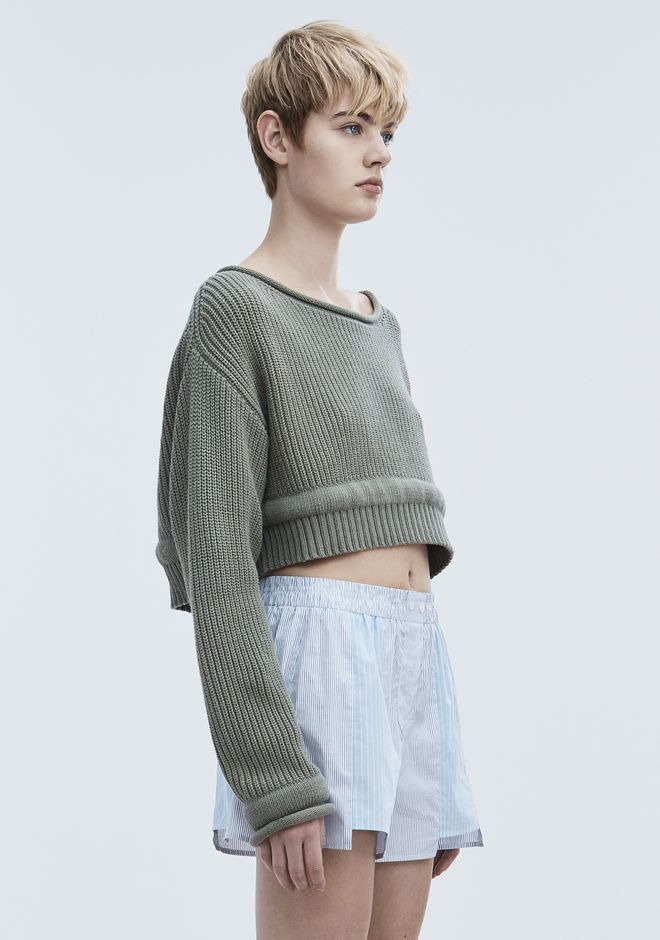 T by ALEXANDER WANG CHUNKY KNIT PULLOVER TOP Adult 12_n_a