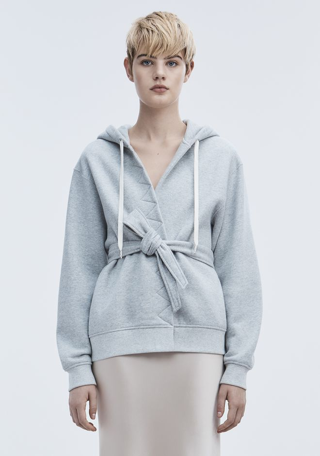 T by ALEXANDER WANG TOPS WRAP FLEECE HOODIE