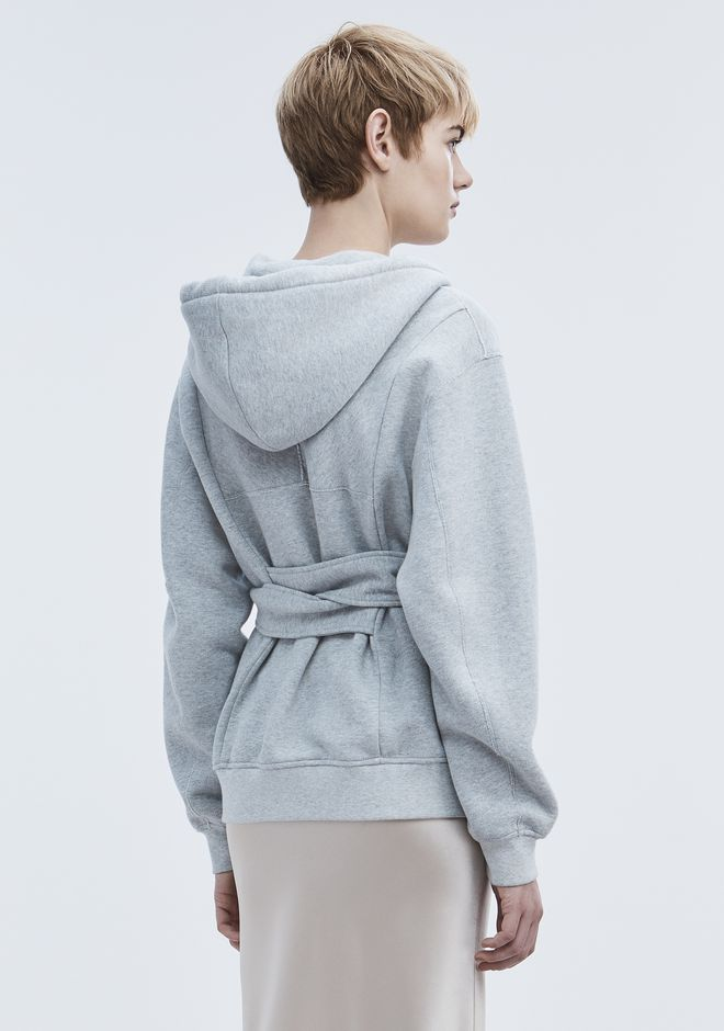 T by ALEXANDER WANG WRAP FLEECE HOODIE TOP Adult 12_n_d