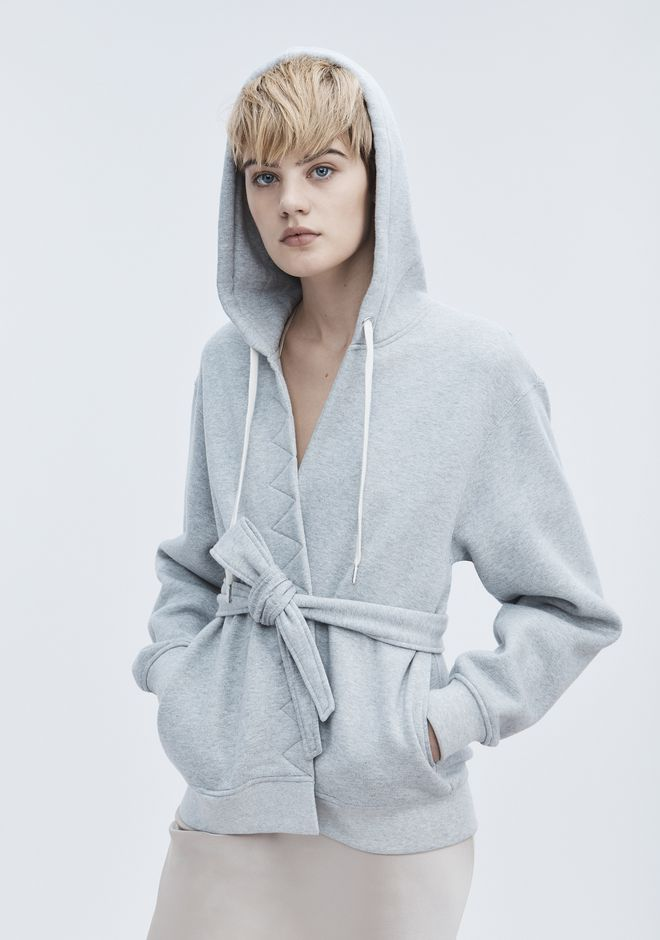 T by ALEXANDER WANG WRAP FLEECE HOODIE TOP Adult 12_n_r