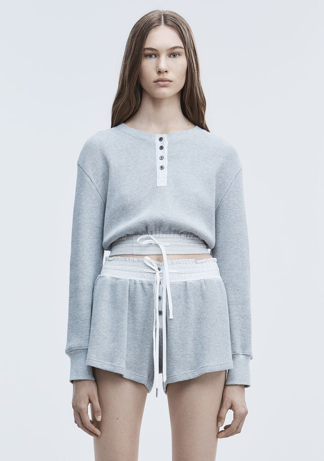 T by ALEXANDER WANG new-arrivals-t-by-alexander-wang-woman CROPPED WAFFLE SHIRT