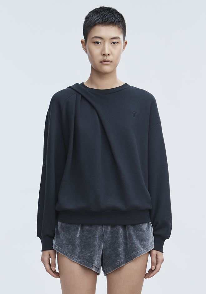 T by ALEXANDER WANG SWEATSHIRTS Women ASYMMETRIC DRAPE SWEATSHIRT