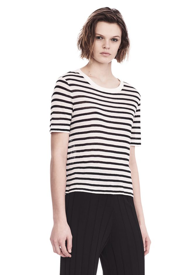 T by ALEXANDER WANG STRIPED T-SHIRT TOP Adult 12_n_a