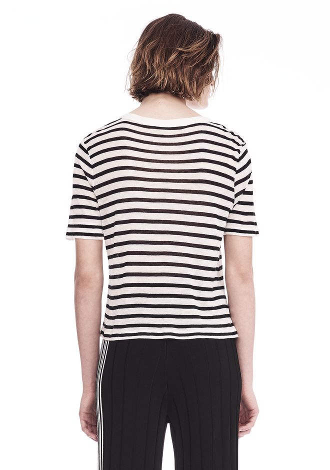 T by ALEXANDER WANG STRIPED T-SHIRT TOP Adult 12_n_d
