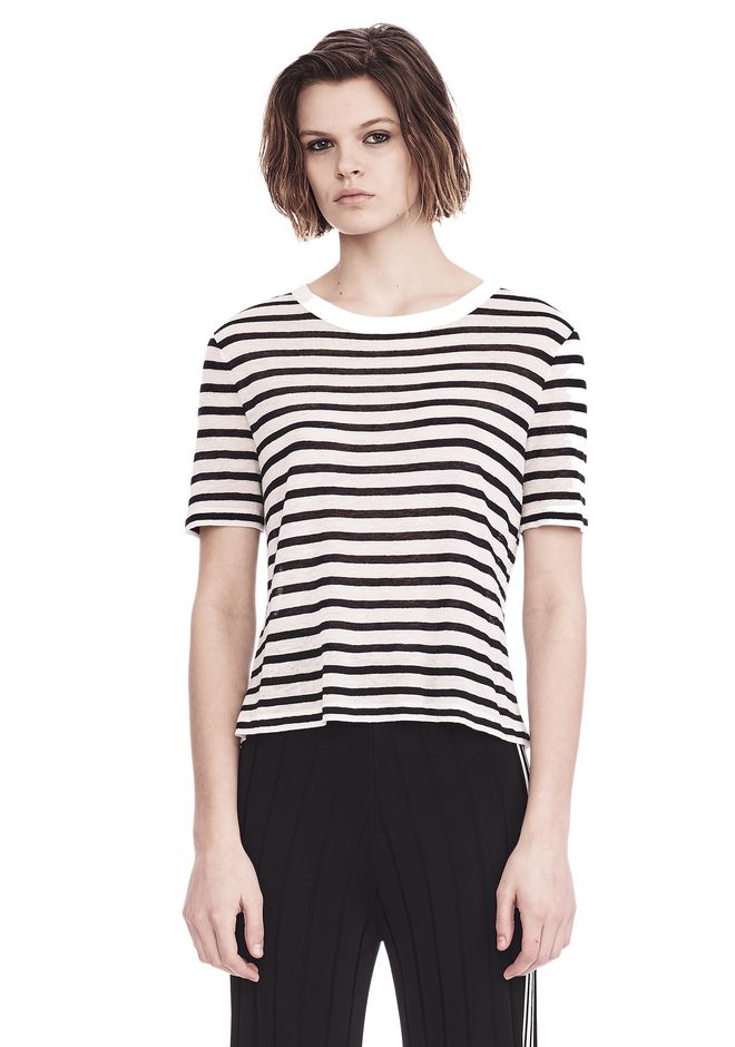 T by ALEXANDER WANG STRIPED T-SHIRT TOP Adult 12_n_e