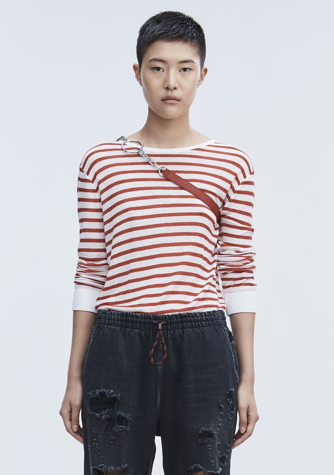 T by ALEXANDER WANG STRIPED LONG SLEEVE TEE TOP Adult 12_n_e