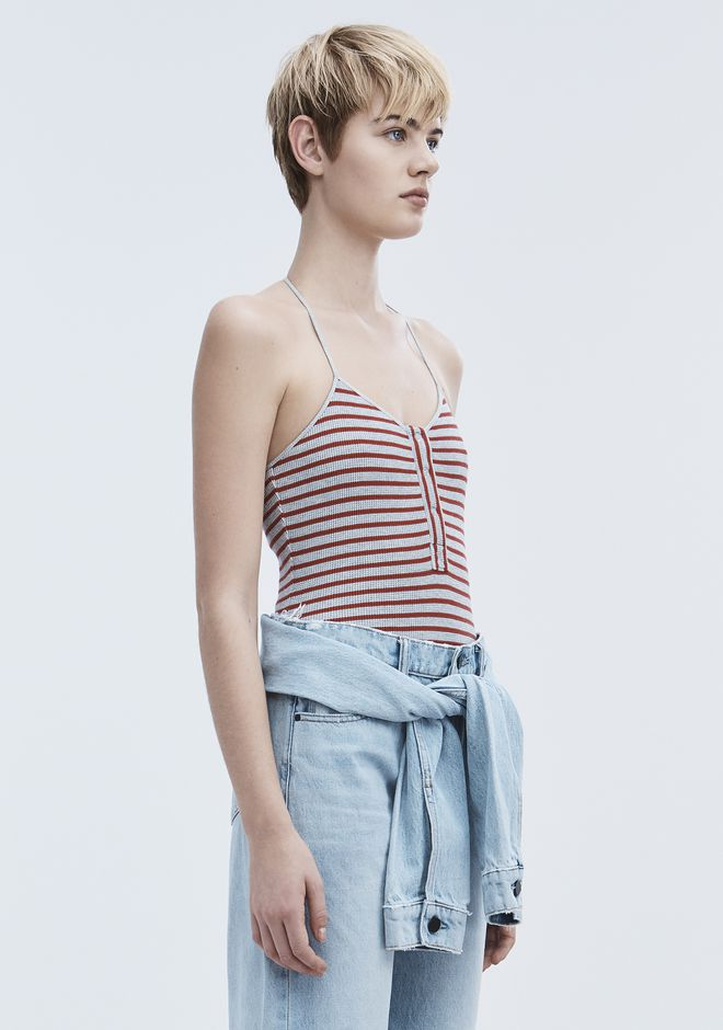 T by ALEXANDER WANG STRIPED BODYSUIT TOP Adult 12_n_a