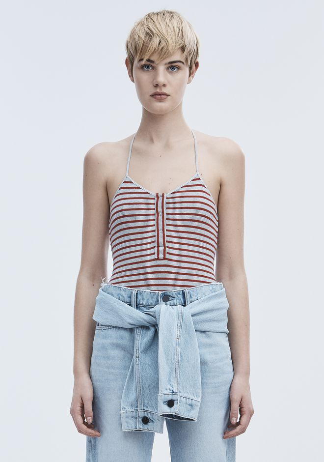 T by ALEXANDER WANG STRIPED BODYSUIT TOP Adult 12_n_e