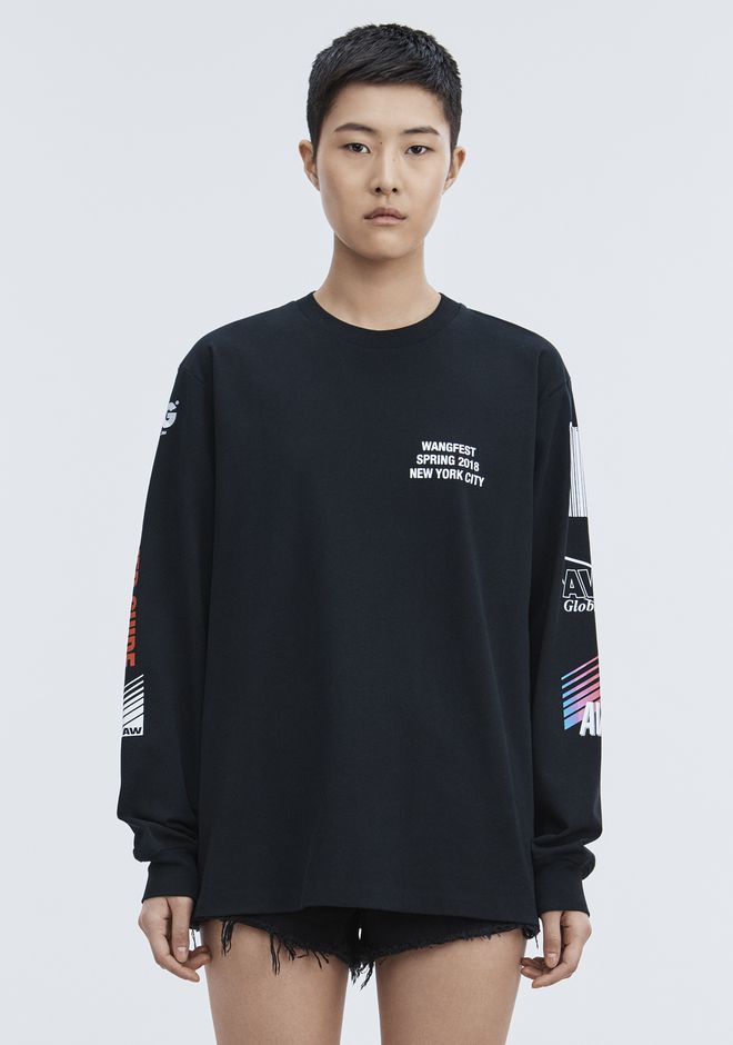 ALEXANDER WANG SPONSORED LONG SLEEVE TEE TOP Adult 12_n_a