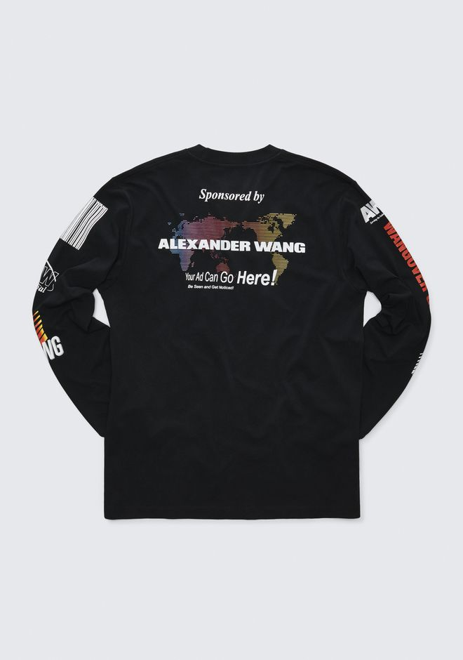 ALEXANDER WANG SPONSORED LONG SLEEVE TEE TOP Adult 12_n_r