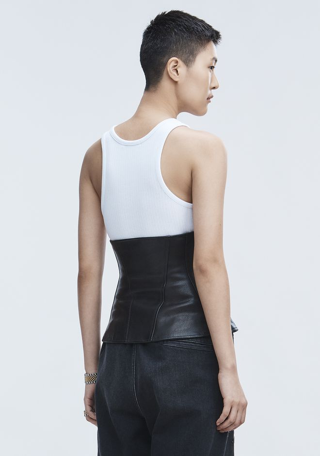 ALEXANDER WANG LEATHER BIKER WAIST CINCHER TOP Adult 12_n_a