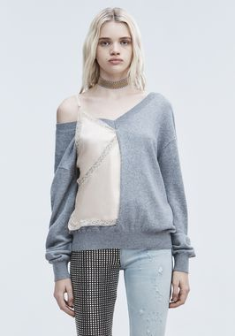 V-NECK SWEATER AND CAMISOLE HYBRID