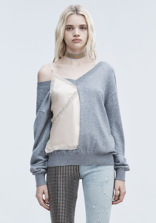 ALEXANDER WANG V-NECK SWEATER AND CAMISOLE HYBRID TOP Adult 12_n_e