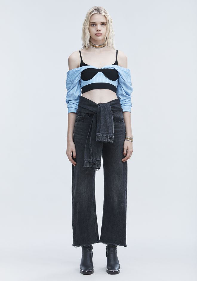 ALEXANDER WANG CROPPED PINSTRIPE SHIRT TOP Adult 12_n_f