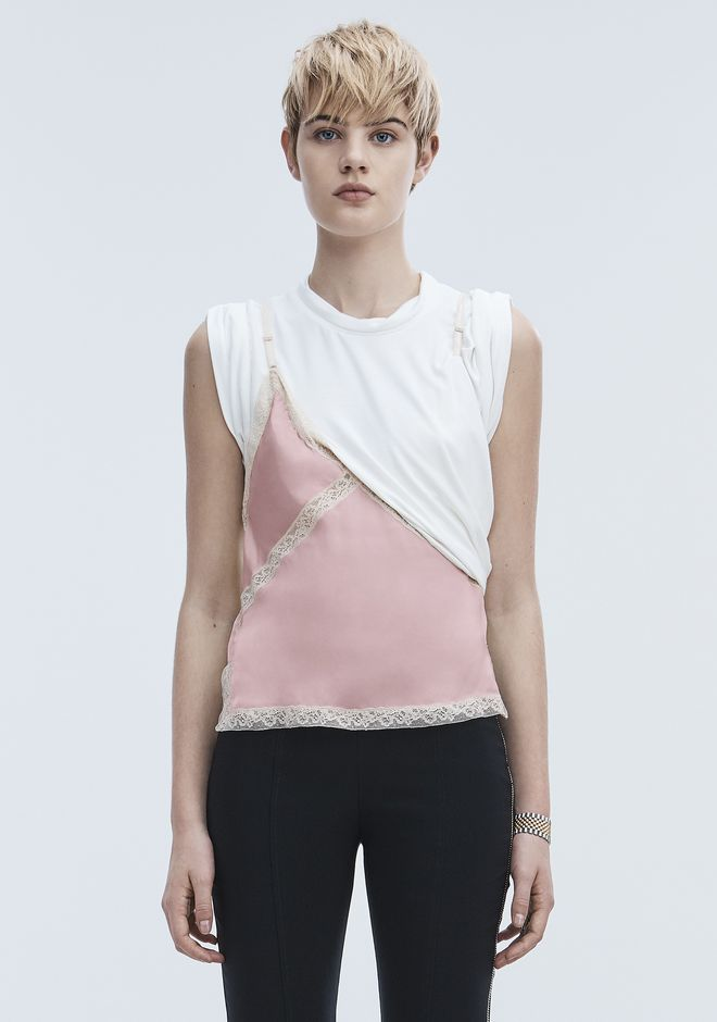 ALEXANDER WANG EXCLUSIVE T-SHIRT HYBRID CAMI TOP Adult 12_n_e