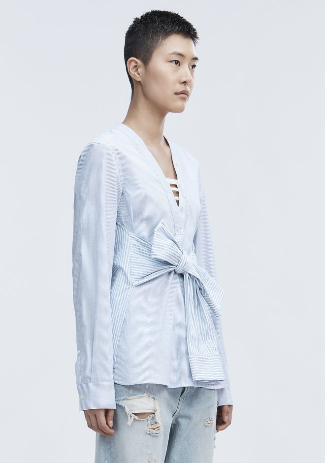 T by ALEXANDER WANG TIE FRONT SHIRT TOP Adult 12_n_a