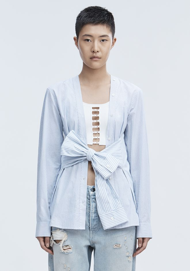 T by ALEXANDER WANG TIE FRONT SHIRT TOP Adult 12_n_e