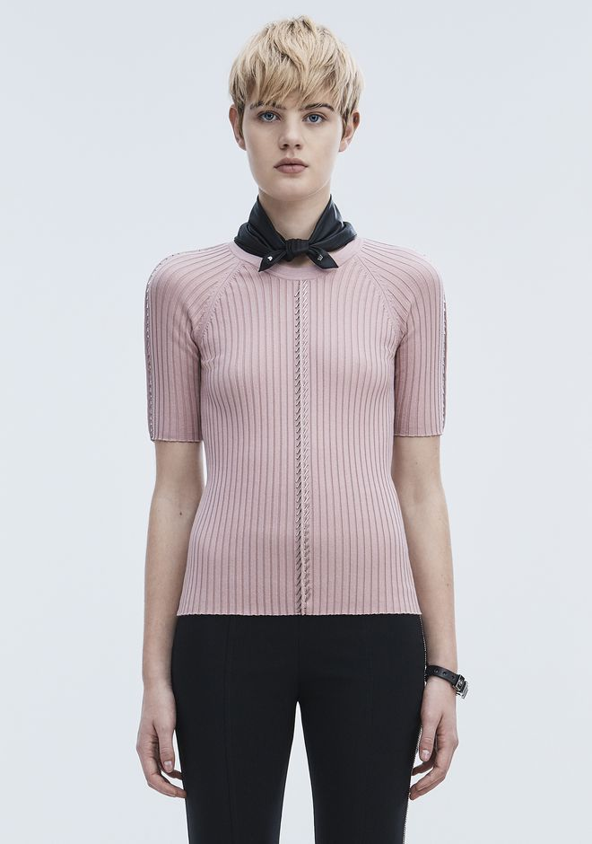ALEXANDER WANG new-arrivals-ready-to-wear-woman PIERCED SHORT SLEEVE TOP
