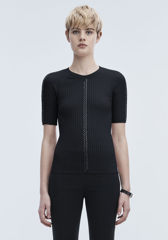 ALEXANDER WANG slrtwtp PIERCED SHORT SLEEVE TOP
