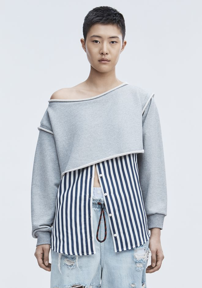 T by ALEXANDER WANG SHIRTS Women STRIPE COMBO PULLOVER