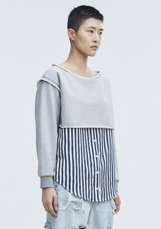 T by ALEXANDER WANG STRIPE COMBO PULLOVER SHIRT Adult 12_n_a