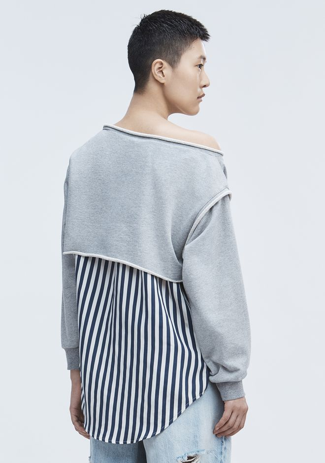 T by ALEXANDER WANG STRIPE COMBO PULLOVER SHIRT Adult 12_n_d