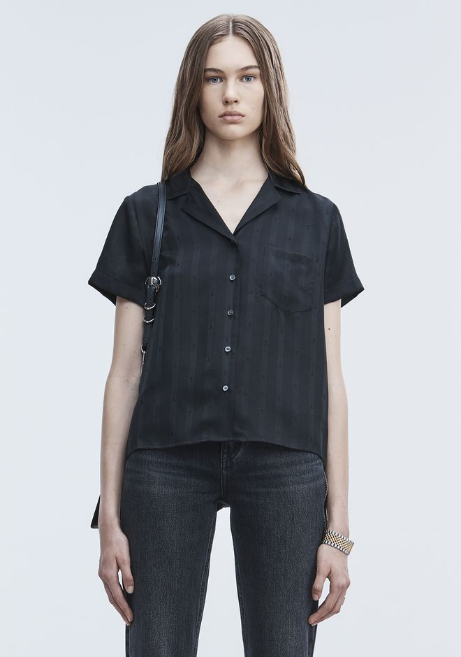 T by ALEXANDER WANG JACQUARD SILK SHIRT Short sleeve shirt Adult 12_n_e
